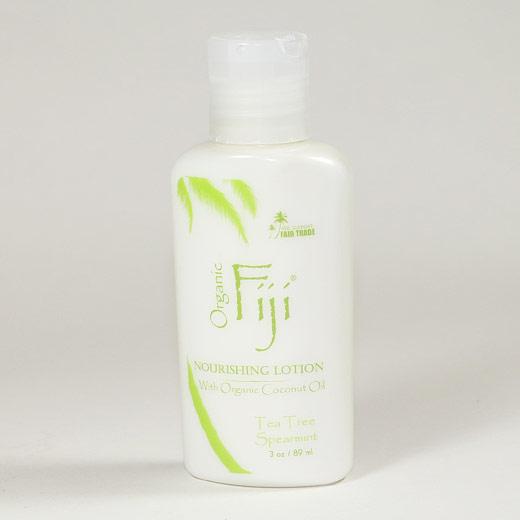Tea Tree Spearmint Nourishing Lotion for Face & Body, Coconut Oil Moisturizer, 3 oz, Organic Fiji