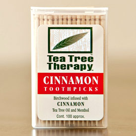 Tea Tree Oil Cinnamon Toothpicks, 100 ct, Tea Tree Therapy