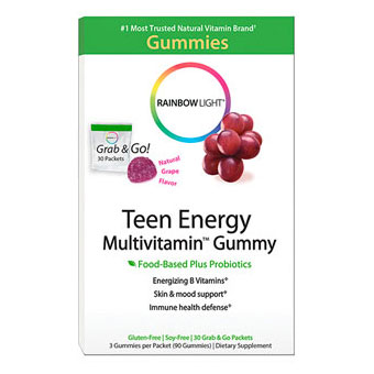 Teen Energy Multivitamin Gummy, Food Based + Probiotics, 30 Packets (90 Gummies), Rainbow Light