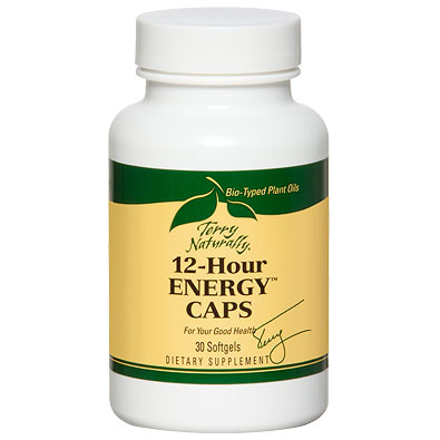 Terry Naturally 12-Hour Energy Caps, Supports Sustained Energy Levels, 30 Softgels, EuroPharma