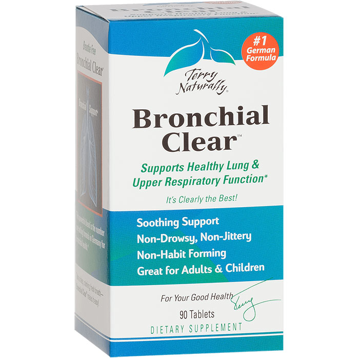 Terry Naturally Bronchial Clear, Lung & Upper Respiratory Health, 90 Tablets, EuroPharma