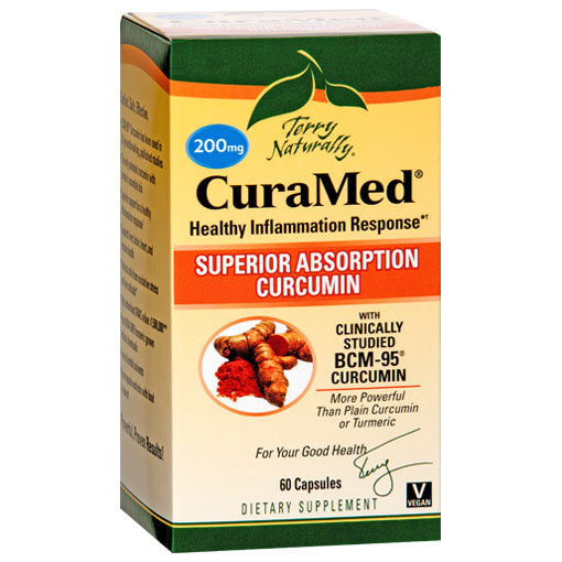 Terry Naturally CuraMed 200 mg, Patented BCM-95 Curcumin, 60 Capsules, EuroPharma