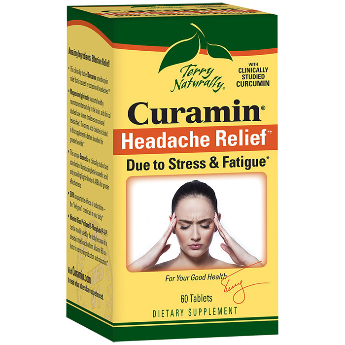 Terry Naturally Curamin Headache Formula, Due to Stress & Fatigue, 60 Tablets, EuroPharma