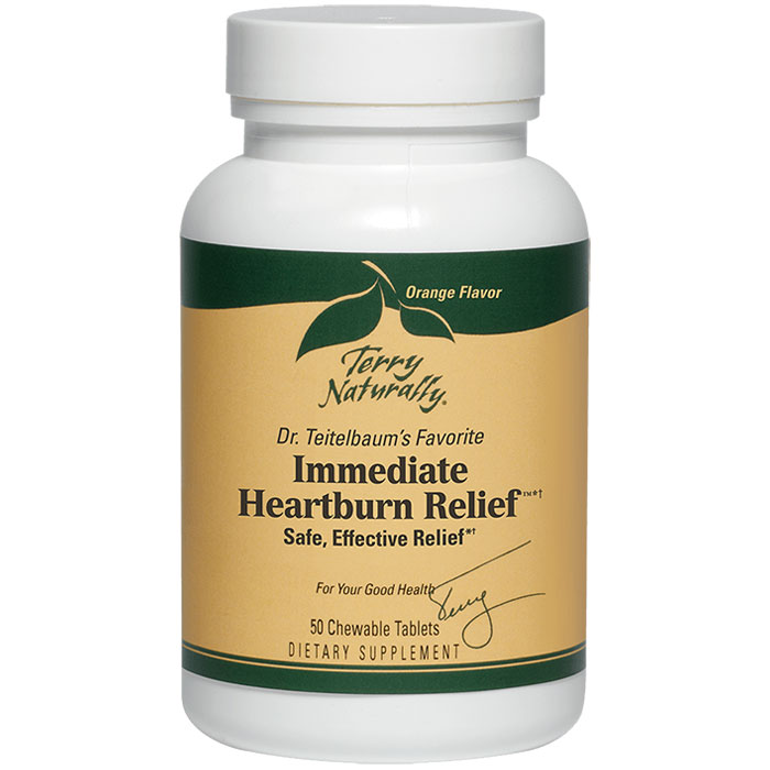 Terry Naturally Immediate Heartburn Relief, 50 Tablets, EuroPharma