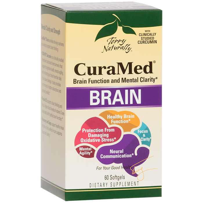 Terry Naturally CuraMed Brain, Brain Function & Mental Clarity, 60 Softgels, EuroPharma