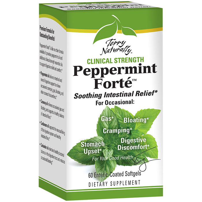 Terry Naturally Peppermint Forte, Clinical Strength, 60 Enteric-Coated Softgels, EuroPharma