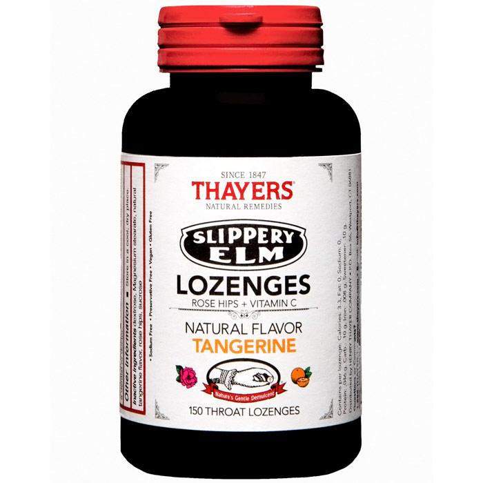 Thayers Slippery Elm Lozenges - Tangerine Flavor, Value Size, 150 Throat Lozenges