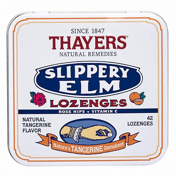 Thayers Slippery Elm Lozenges - Tangerine Flavor, with Rose Hips and Vitamin C, 42 Lozenges