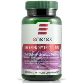 The Friendly Trio Plus NAG, Temperature Stable Probiotic & Prebiotic, 90 Capsules, Enerex USA