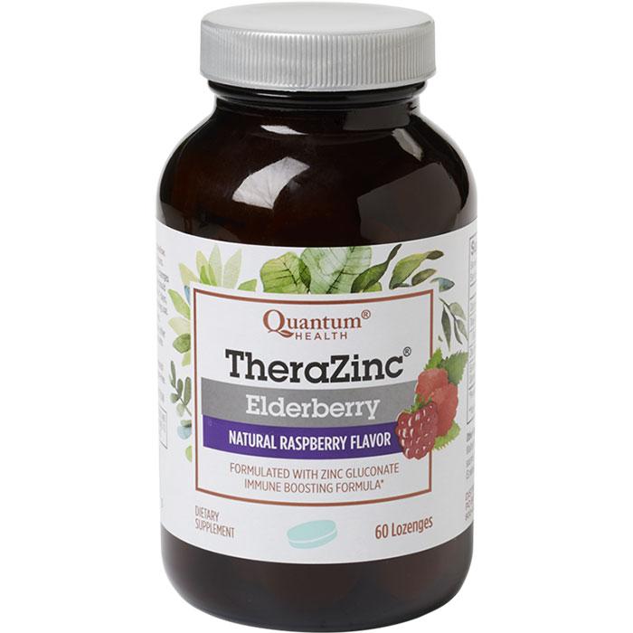 Thera Zinc Elderberry Lozenges - Natural Raspberry, 60 Lozenges, Quantum Health