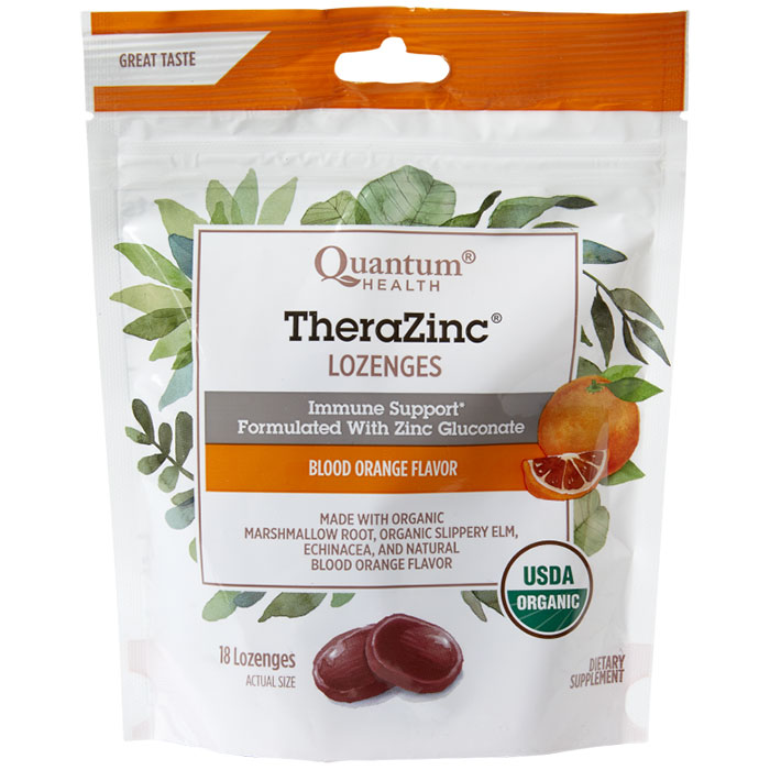 Thera Zinc Lozenges - Blood Orange, 18 Lozenges, Quantum Health