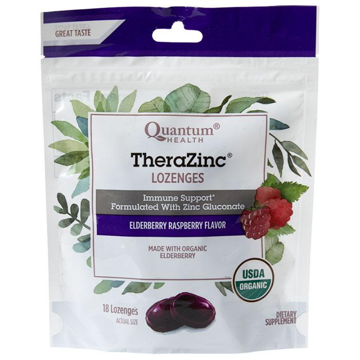 Thera Zinc Lozenges - Elderberry Raspberry, 18 Lozenges, Quantum Health