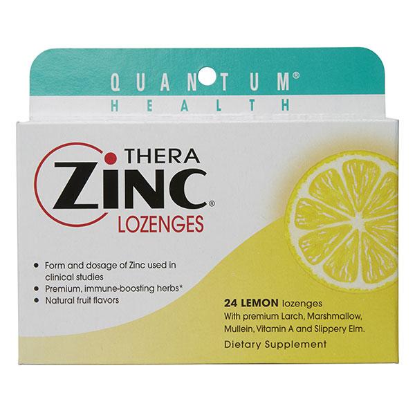 Thera Zinc Lozenges, Lemon, 24 loz, Quantum Health