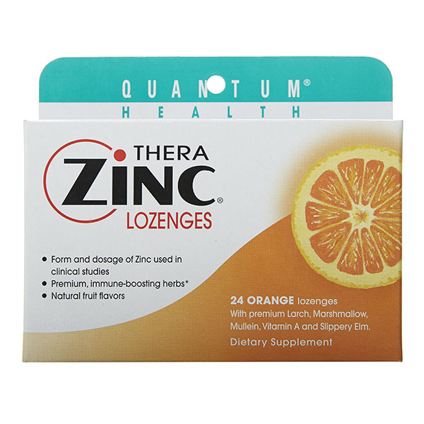 Thera Zinc Lozenges, Orange, 24 loz, Quantum Health (Vitamins Supplements - Zinc)