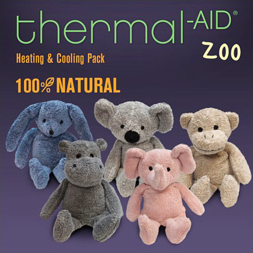 Thermal-Aid 100% Natural Heating & Cooling Plush Zoo Animals, Hot Cold Pack, Childrens Pain Relief Aid, 1 Pack