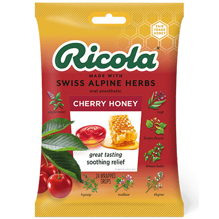 Herb Throat Drops, Cherry Honey, 24 Drops, Ricola