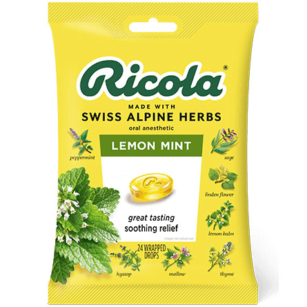 Herb Throat Drops, Lemon Mint, 24 Drops, Ricola