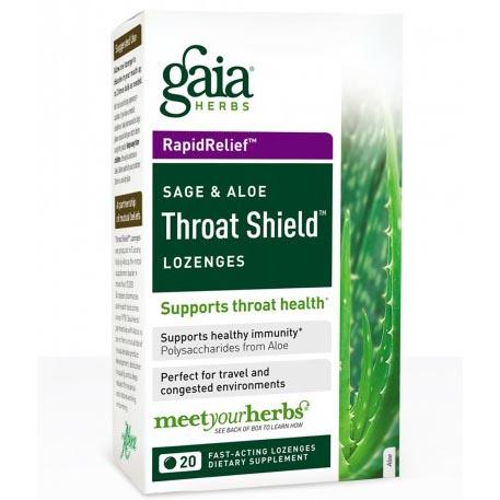 Throat Shield Lozenges, Sage and Aloe, 20 Lozenges, Gaia Herbs