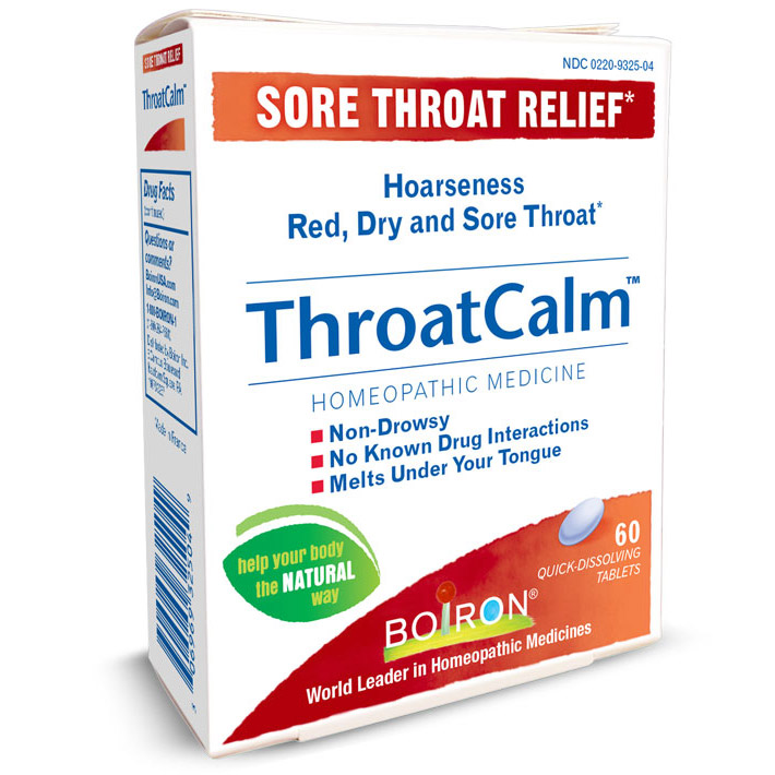ThroatCalm, Sore Throat Relief (Throat Calm), 60 Tablets, Boiron