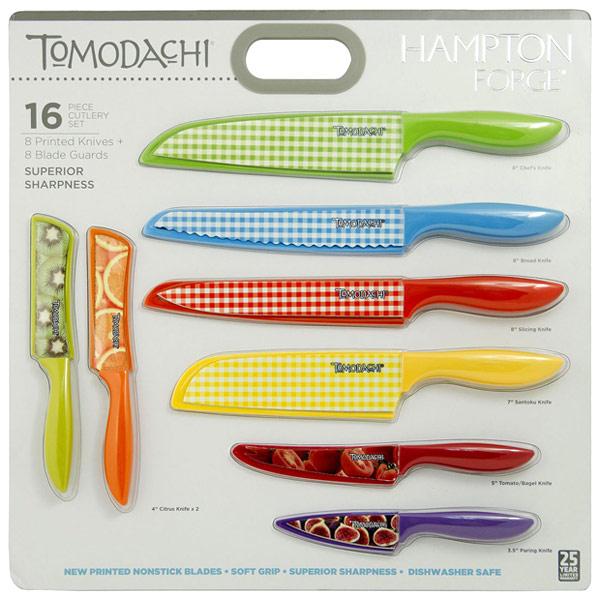 Hampton Forge 16 Piece Tomodachi Prints Cutlery Set, Printed Knives + Blade Guards, 1 Kit