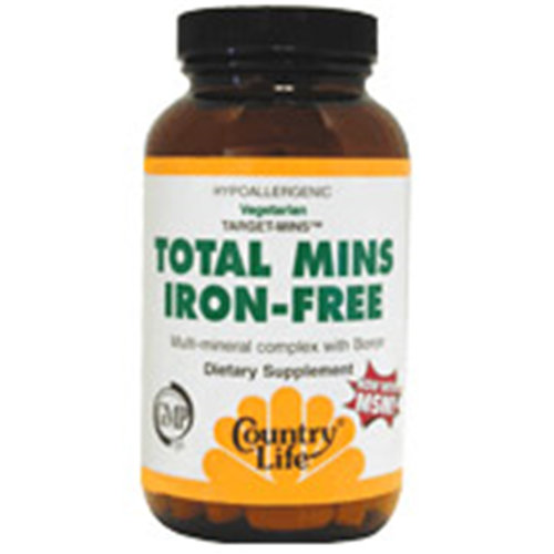 Total Mins Iron-Free Target Mins 120 Tablets, Country Life