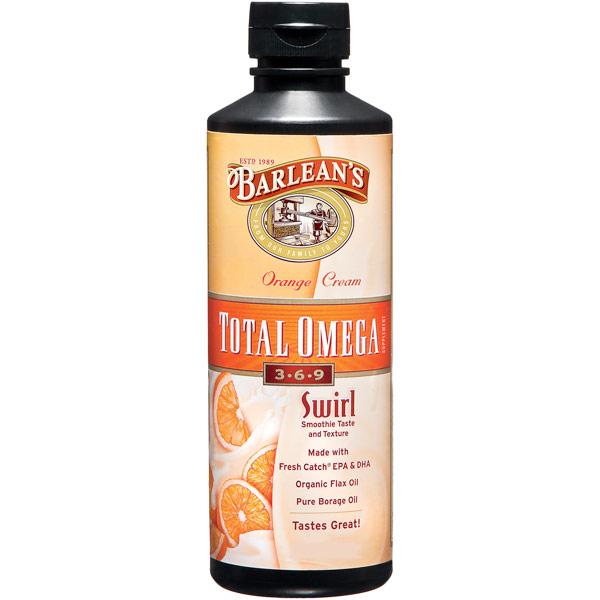 Total Omega 3-6-9 Swirl Liquid, Orange Cream (Complete & Balanced), 8 oz, Barleans Organic Oils