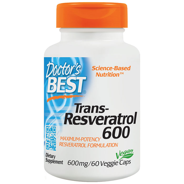 Trans-Resveratrol 600 mg, Maximum Potency Resveratrol, 60 Veggie Caps, Doctors Best