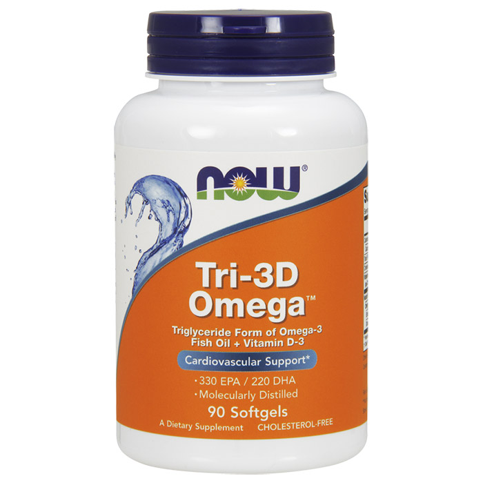 Tri-3D Omega, Fish Oil + Vitamin D-3, 90 Softgels, NOW Foods