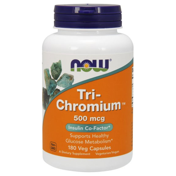 Tri-Chromium 500 mcg + Cinnamon, 180 Vcaps, NOW Foods
