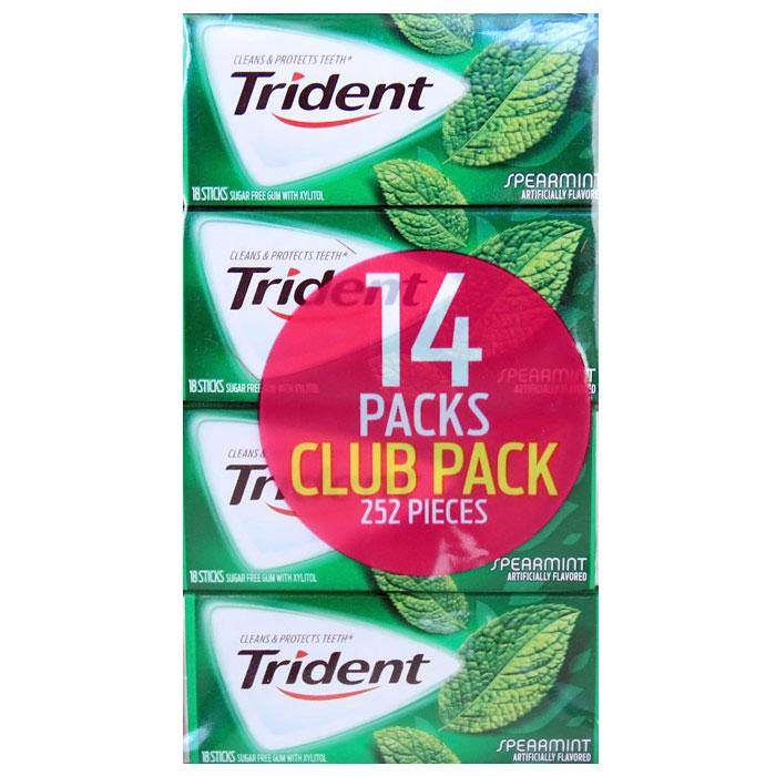 Trident Sugar Free Gum with Xylitol, Spearmint, 252 Pieces (18 Sticks x 14 Packs)