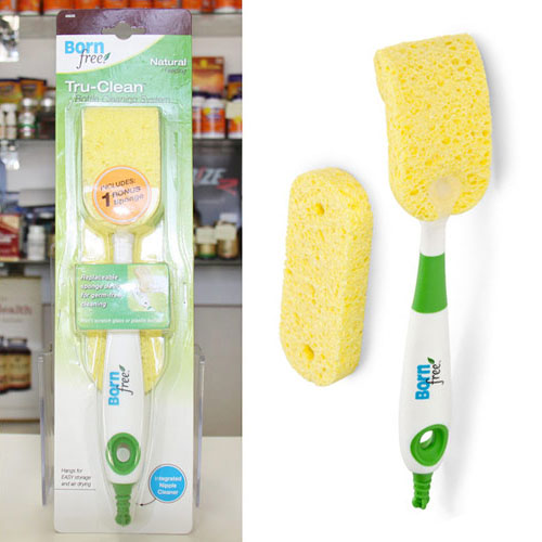 Tru-Clean Baby Bottle Cleaning System Sponge Brush Kit, BornFree (Born Free)