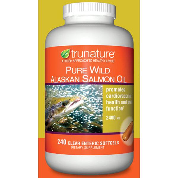 TruNature Pure Wild Alaskan Salmon Oil 2400 mg, 240 Clear Enteric Softgels