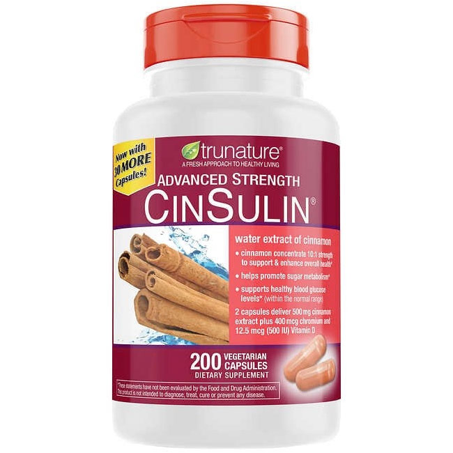 TruNature Advanced Strength CinSulin, Cinnamon Plus Chromium & D3, 170 Capsules