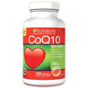 TruNature CoQ10 100 mg (Co-Q10, Coenzyme Q10), 220 Softgels