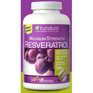 TruNature Maximum Strength Resveratrol 250 mg, 140 Softgels