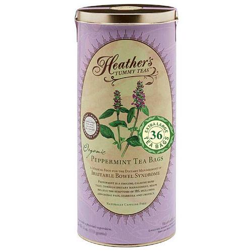 Heathers Tummy Teas, Organic Peppermint Tea Bags in Canister, 36 Extra Large Tea Bags, Heathers Tummy Care