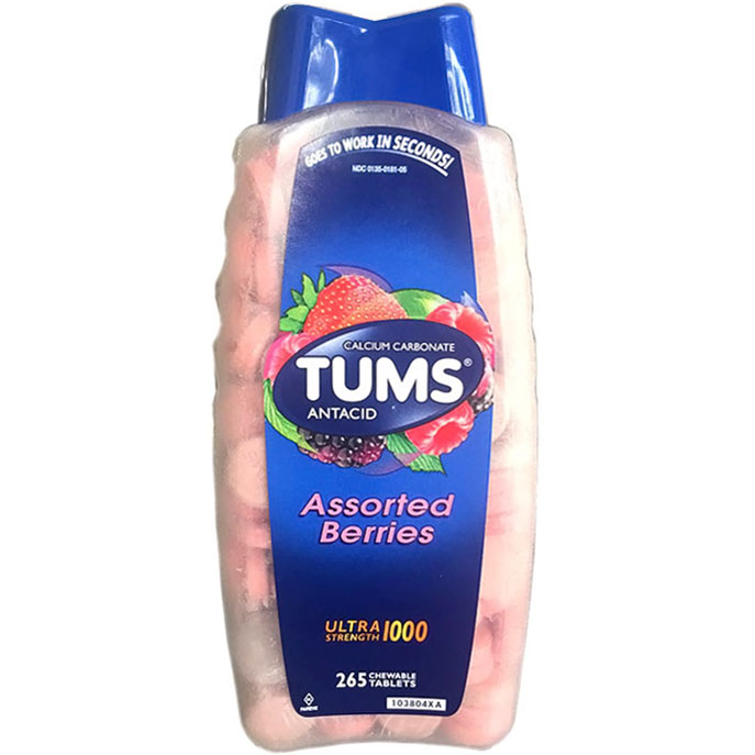 Tums Ultra Strength 1000 Calcium Carbonate Antacid Supplement, Assorted Berries, 265 Chewable Tablets