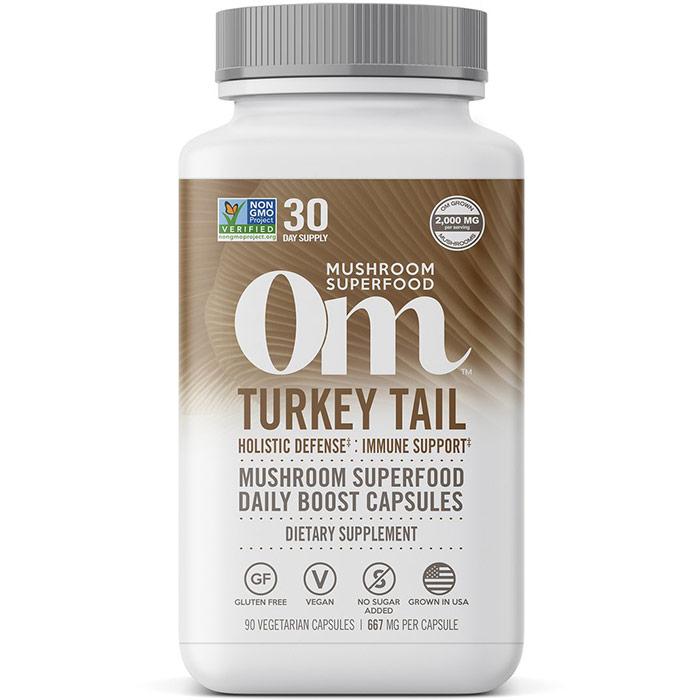 Turkey Tail Mushroom Superfood Daily Boost Capsules, 90 Vegetarian Capsules, Om Organic Mushroom Nutrition