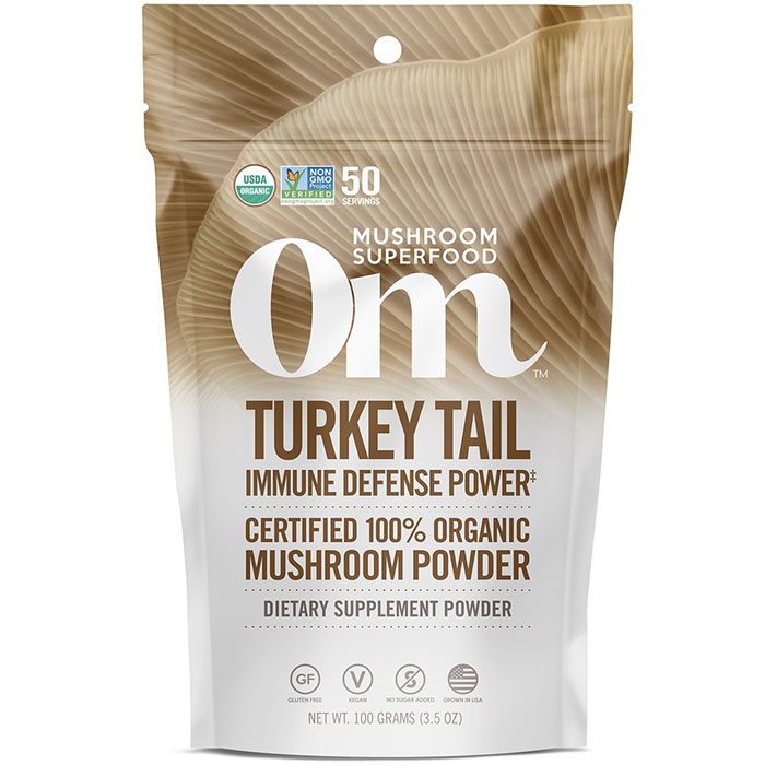 Turkey Tail Mushroom Superfood Powder, 100 g, Om Organic Mushroom Nutrition