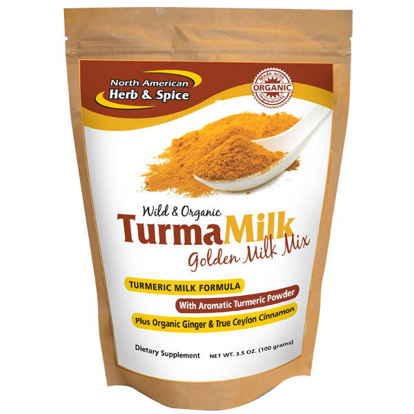 TurmaMilk Golden Drink Mix, Turmeric Milk Formula, 4.59 oz, North American Herb & Spice