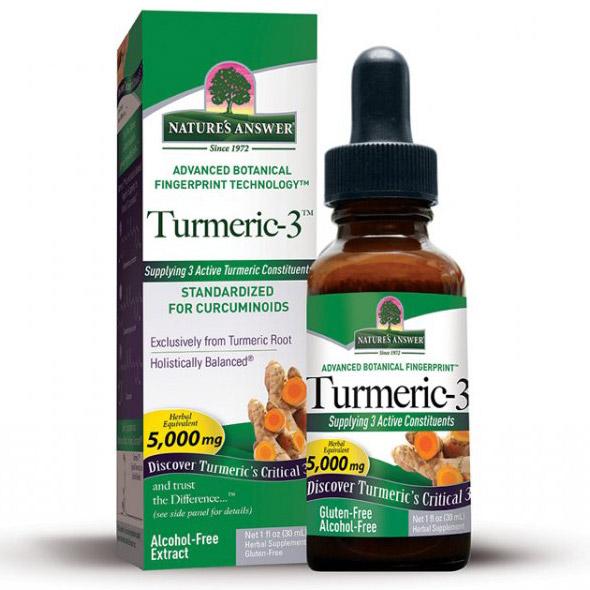 Turmeric-3 Liquid Alcohol-Free, Turmeric Rhizome Extract, 1 oz, Natures Answer