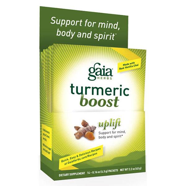 Turmeric Boost Powder - Uplift Single Serve, 14 Packs, Gaia Herbs