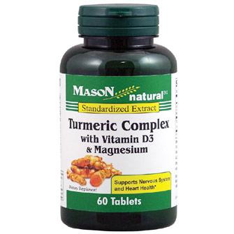 Turmeric Complex with Vitamin D3 & Magnesium, 60 Tablets, Mason Natural