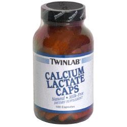 TwinLab Calcium Lactate Caps 100 mg, 100 Capsules