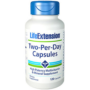 Two-Per-Day Capsules, High Potency Multivitamin & Mineral Supplement, 120 Capsules, Life Extension
