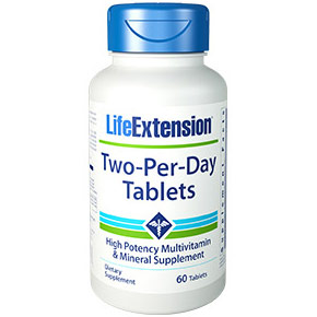 Two-Per-Day Tablets, High Potency Multivitamin & Mineral Supplement, 60 Tablets, Life Extension