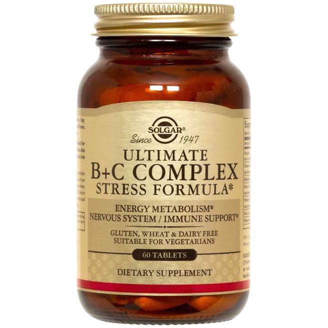 Ultimate B+C Complex Stress Formula, 60 Tablets, Solgar