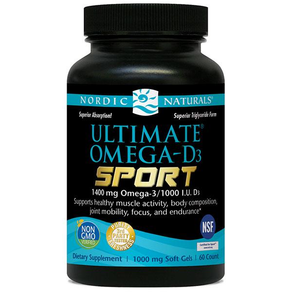 Ultimate Omega-D3 Sport Fish Oil, 60 Softgels, Nordic Naturals