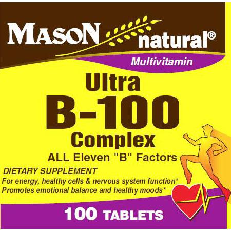 Ultra B-100 Complex, 100 Tablets, Mason Natural