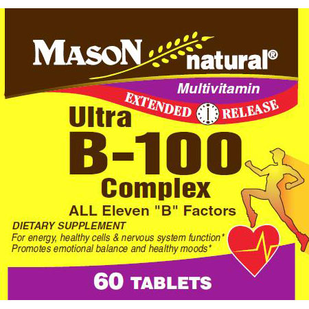 Ultra B-100 Complex, Extended Release, 60 Tablets, Mason Natural